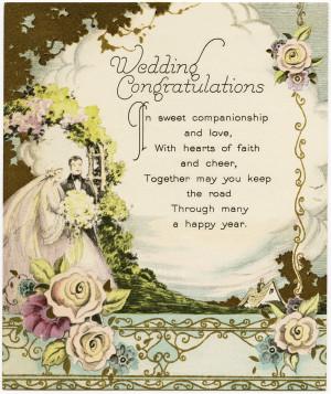 Free Digital Image ~ Vintage Wedding Congratulations