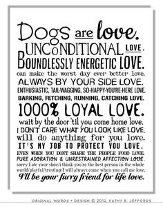 ... My Dog Quotes Poster. Gift For Dog People Or Animal Rescue. on