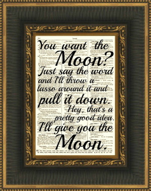 Lasso the Moon, Its a Wonderful Life Quote, Dictionary Print, Buy 2 ...