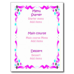 Wedding menu - Bible verses, pink heart Post Cards