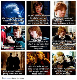 Ron Weasley book quotes. He's so much wittier in the books.