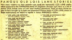 ... Lois Lane Annual #1, comes this list of