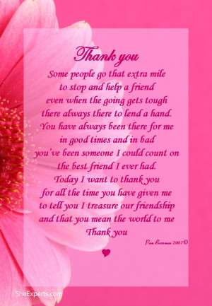 Thanks You Poems For Friends, Thanks You Friends Poems, Beauty Sisters ...