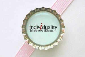 Quote Individuality Blue Bottle Cap Magnet - inspirational quote ...