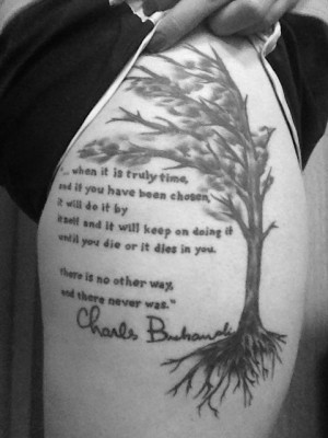 Brit Hemp literary thigh tattoo of charles bukowski's