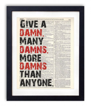 Give a Damn Typography Quote Dictionary Print On by RetroBookArt, $6 ...