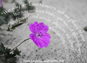 forbidden love quotes - We say we love flowers, yet we pluck them. We ...