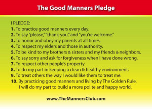 Good Manners Pledge and Manners Club Membership Card here: Manners ...