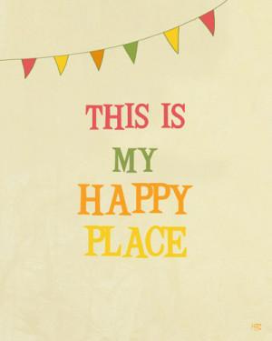 My Happy Place typography art print, happy quote, room decor, studio ...
