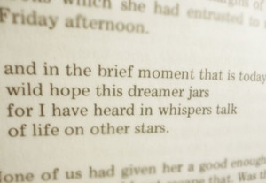 and in the brief moment that is today/ wild hope this dreamer jars ...