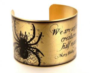 Frankenstein Quote Bracelet, Literary Jewelry with Creatures, Brass ...