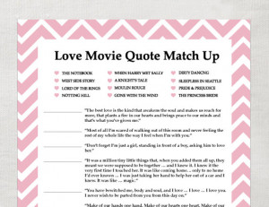 INSTANT Love Quote matchup- Instant Download - Bridal Shower Game ...