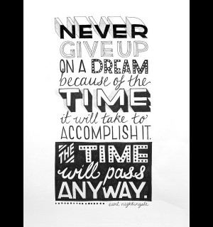 Never give up on a dream because of the time it will take to ...