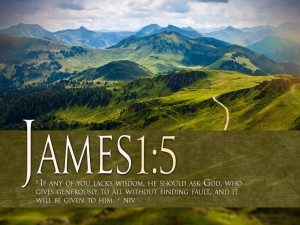 James 1:5 Scripture Mountain Landscape HD Wallpaper