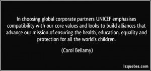 partners UNICEF emphasises compatibility with our core values ...