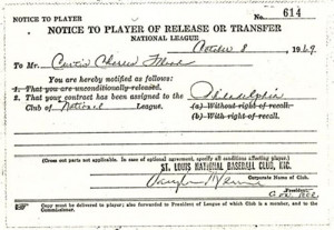curt flood notice to player of release or transfer curt flood on ...