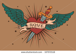 ... vector heart with wings and knife 107572118 Broken Hearts With Knife