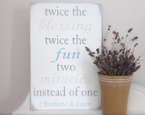 Custom Sign, Twins, Quote for Twins Sign, Nursery Sign, NameSign, Wood ...