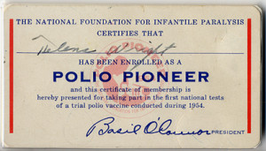 Polio pioneer card stating The National Organization for Infantile ...