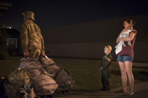 Tech. Sgt. Aaron Drain walks away after saying goodbye to his family ...