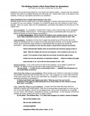 The Writing Centers MLA Cheat Sheet for Quotations