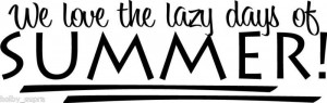 We Love Summer Lazy Days Wall Vinyl Sticker Decal Decor quote Cute ...