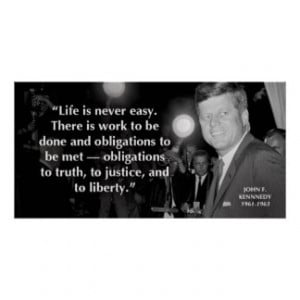 John F Kennedy Motivational Life Quotes Poster