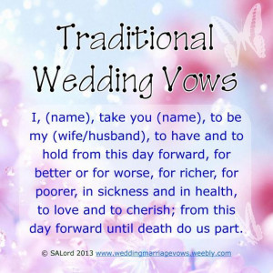 Traditional Wedding & Marriage Vows