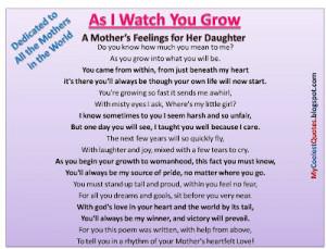 Mother's Feelings for Her Daughter .....