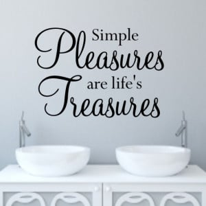 Simple pleasures wall art quote sticker H547K