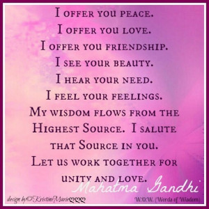 Let us work together for Unity and Love