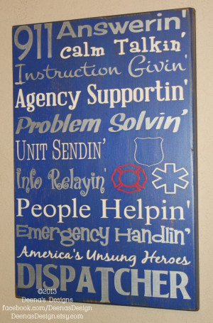 911 Dispatcher Wall Art -- gift idea for mom? maybe...