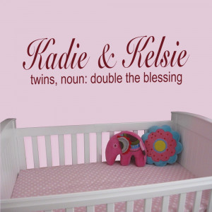 Details about Twins, Noun: Double The Blessing - Nursery Wall Quote ...