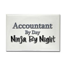 Accountant by Day Ninja by Night Rectangle Magnet for