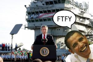 Funny photos funny president bush obama mission accomplished