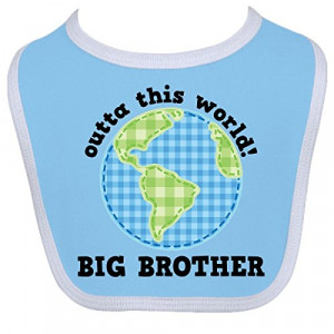 inktastic baby boys big brother outta this world baby bib one size ...