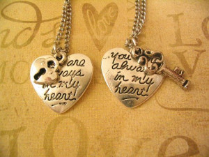 Key to My Heart Necklaces Lock and Key Set for Sister Friends or ...