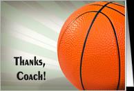 Thank You Basketball Coach- basketball on star burst background card ...