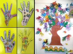 Art from first and second graders for 'Racial Harmony Day'. Handprints ...