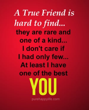 Friendship Quote: A True Friend is hard to find, they are rare and one ...