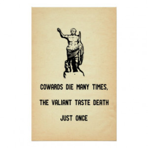 Caesar Quote Valiant Taste Death Only Once Print