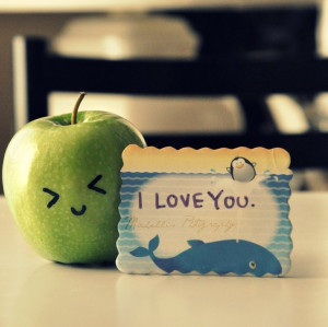 apple, cute, i love you, love, sweet - inspiring picture on Favim.com