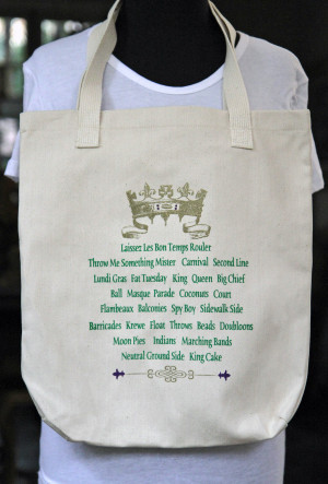 Mardi Gras Crown and Sayings Tote Bag
