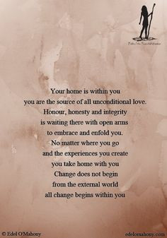 love. Honour, honesty and integrity is waiting there with open arms ...