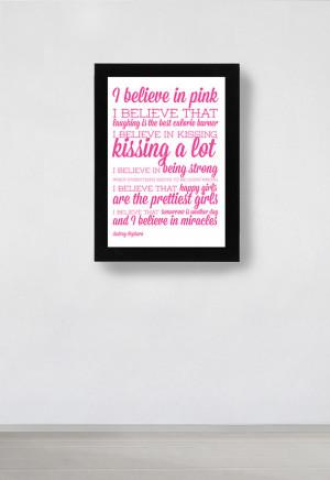 Audrey Hepburn Quote Poster - I Believe in Pink - A3 / 11