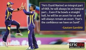 There can be no backup for Sunil Narine,' says Gautam Gambhir