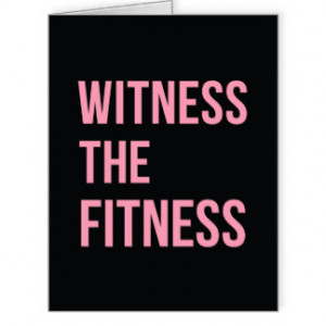 Workout Quote Witness The Fitness Black Pink Large Greeting Card
