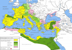 Roman Empire under Augustus. The yellow legend represents the extent ...