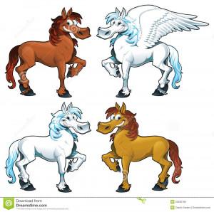 Família dos cavalos + 1 Pegasus. Desenhos animados engraçados e ...