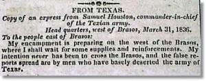 Sam Houston - Niles Weekly Register